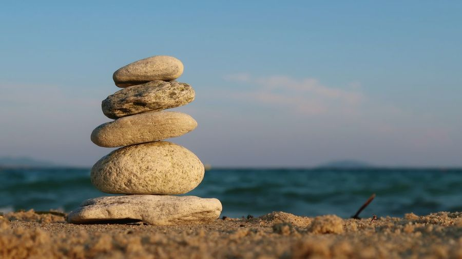 Stone balancing Feng Shui Meditation Yoga Balance Beach Buddhism Horizon Nature Pebble Rock Rock - Object Sand Scenics - Nature Sea Sky Solid Stack Stacked Stone Stone - Object Tranquil Scene Tranquility Water Zen Zen-like