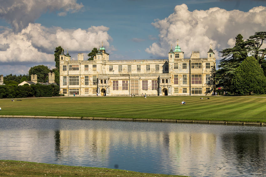 Architecture Building Exterior Cloud - Sky Politics And Government Built Structure Government Front Or Back Yard Outdoors Day Sky Politics No People Tree Nature Grass Shadow Audley End Water Surface Water Reflections Travel Destinations The Architect - 2017 EyeEm Awards