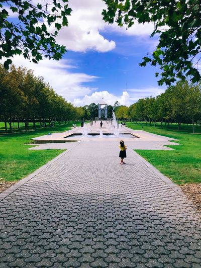 Bicentennial Park Blue Lookingforward Clouds Grass Pathway Girl Fountain Trees Green Bluesky EyeEm Selects Outdoors Beauty In Nature Trees EyeEm Gallery Photography Picoftheday EyeEm