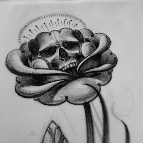 sketch Sketch Sketching Skull Flower Art Tattoodesign