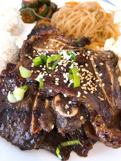 Delicious Beef Kalbi Short Ribs Food And Drink Ready-to-eat Food Freshness Serving Size Indoors  Still Life Plate Close-up Meat Meal