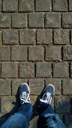 Low Section Standing Human Leg Shoe High Angle View Stone Tile Canvas Shoe Paving Stone Footwear Footpath Pair Shoelace Things That Go Together Ground Personal Perspective Human Feet Human Foot Paved The Art Of Street Photography