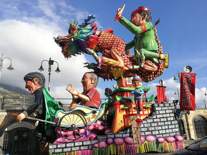 Maiori, Campania, Italy - March 4, 2019: Allegorical floats in the square of the port for the 46th edition of the Grand Carnival of Maiori Nature Festival Sky Italy Statue Celebration Day Outdoors Sculpture Colorful Art And Craft Creativity Floats Campania Amalfi Coast Representation Multi Colored Cloud - Sky Arts Culture And Entertainment Human Representation Male Likeness Carnival - Celebration Event Maiori, Allegorical Floats Grand Carnival Of Maiori