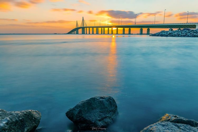 Sunset,Al Bateen Beach Sky Bridge Bridge - Man Made Structure Sea Water Built Structure Connection Nature Architecture Rock - Object Beauty In Nature Cloud - Sky No People Horizon Over Water Transportation Outdoors First Eyeem Photo