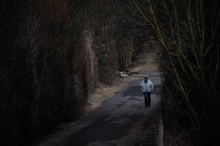 Man Wearing Warm Clothing Walking On Road Amidst Bare Trees In Forest