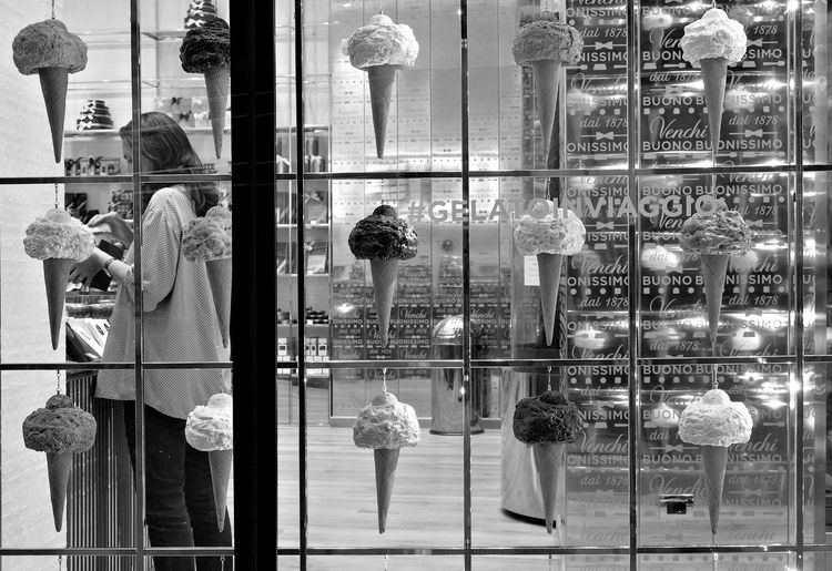 Building Exterior City Day For Sale Glass - Material Human Representation Ice Cream Ice Cream Cone Ice Cream Parlor Milano Monocrome Outdoors Real People Reflection Retail  Retail Display Store Store Window The Street Photographer - 2017 EyeEm Awards Transparent Window Black & White Friday