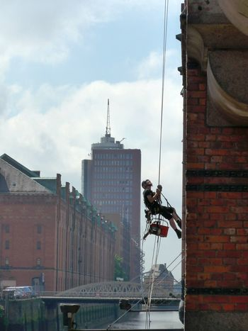 Architecture Building Exterior City City Adventure Outdoors Safety At Work Speicherstadt Speicherstadt Hamburg Urban Climbing Window Cleaner Window Washer Success Career Showcase July TakeoverContrast Go Higher