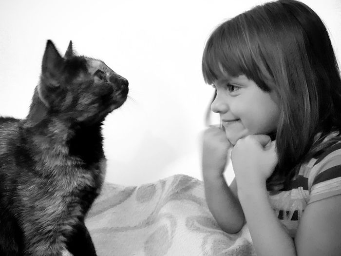 Portrait of cute girl sitting with dog