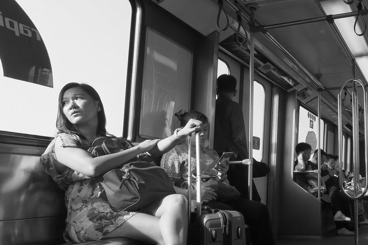 Where to ? Casual Clothing Crosslegged Goingplaces Inthetrain Lifestyles Luggage, Travel  Person Public Transport Sitting Traveling Travelphotography Turntosee Young Adult Young Women