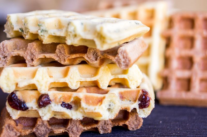 Baked Belgian Waffle Close-up Delicious Focus On Foreground Food Sweet Thick Waffle Waffle