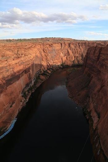 High Angle View Of River Amidst Rocky Cliffs