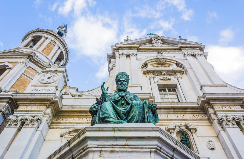 Low angle view of statue against cathedral