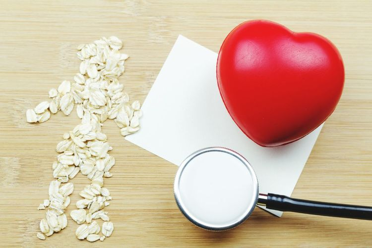 Health concept Concept Conceptual Rolled Oat Heart Shape Heart Love Ball Copy Space Copyspace Oat Rolled Oat Healthy Health Diet Stethoscope  Checking Wood - Material Close-up