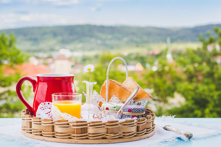 breakfast Absence Balcony Balcony View Breakfast Coffee Day Empty Focus On Foreground Juice My Favorite Breakfast Moment No People Outdoors Spring Still Life Summer Vacation