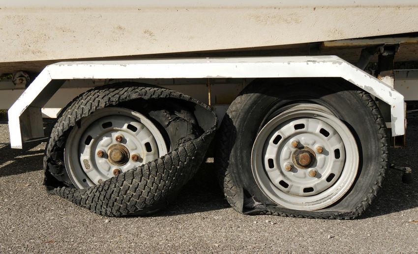 Damaged Tire Of Vehicle