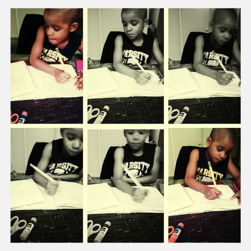 Earlier .. Helping My Little Brother Out With Hos Homework