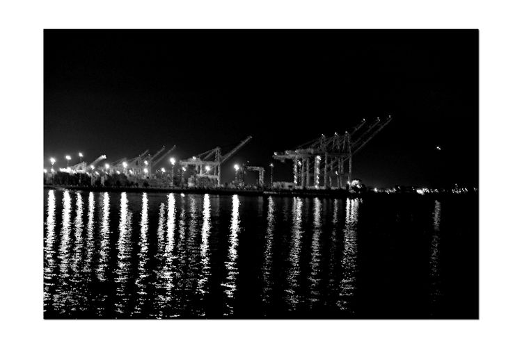 Twilight @ Port of Oakland 4 Middle Harbor Oakland, Ca. Lights Reflections Water Reflections Reflected Glory Port Cranes Blackandwhite Photography Black & White Crystalized Pixelation Q Quiet Moments Twilight Glow Refraction Blue Light Black And White Collection