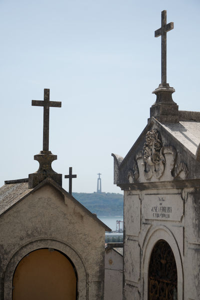 Impression of one of the most famous and romantic cemetaries in the world: the Cemitério dos Prazeres in Lisbon, Portugal. Architecture Building Exterior Built Structure Cemeterio Cemetery Cross Day Graveyard Lisbon Lisbon, Portugal Low Angle View No People Outdoors Place Of Worship Portugal Prazeres Religion Rip Sky Spirituality Tejo