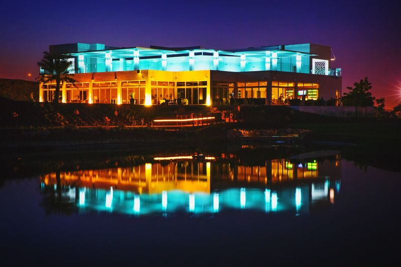 Golf Ghala Club Architecture Night Photography Reflections Muscat , Oman Hidden Gems  Visit Oman
