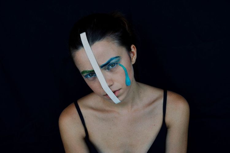 Portrait Make-up Blue Looking At Camera Tear Tear Drop Abstract One Woman Only One Young Woman Only Women People One Person Black Background Studio Shot Beautiful Woman Young Women Front View Beauty Close-up Pixelated Futuristic Pretty Hologram The Portraitist - 2018 EyeEm Awards The Still Life Photographer - 2018 EyeEm Awards The Creative - 2018 EyeEm Awards Be Brave A New Perspective On Life Humanity Meets Technology International Women's Day 2019