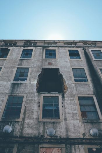 Architecture Broken Building Exterior Built Structure Clear Sky Day Demolished Low Angle View No People Old Outdoors Sky Window