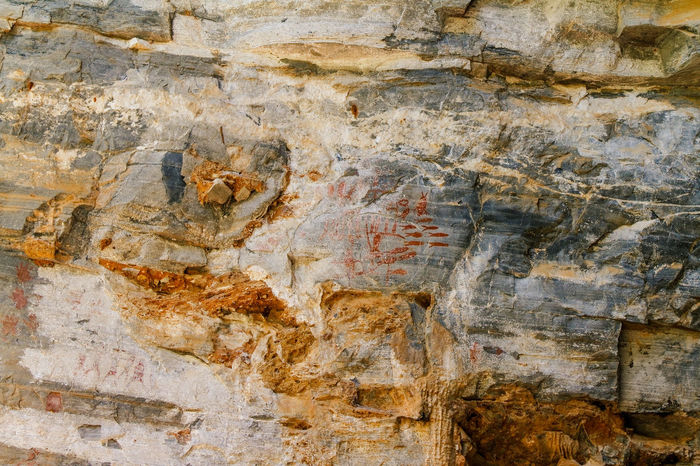 Ancient rock paintings Backgrounds Close-up Day Detail Deterioration Full Frame Natural Pattern Nature No People Old Outdoors Rocks Run-down Textured