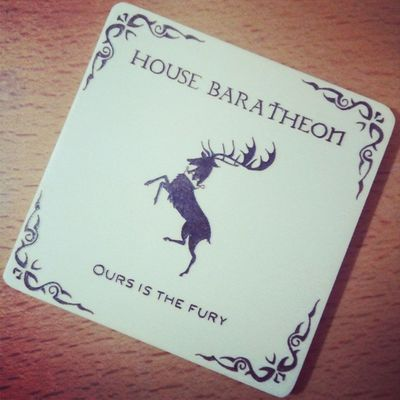 Game of Thrones wood burned coaster. 2nd of the set. Got Ours is the fury! House Baratheon