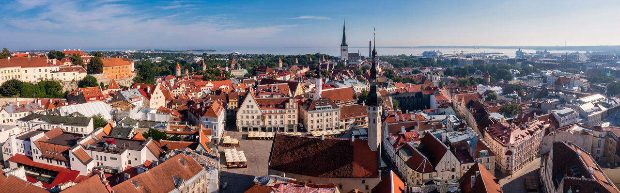 Aerial view of tallinn old town in a beautiful summer day