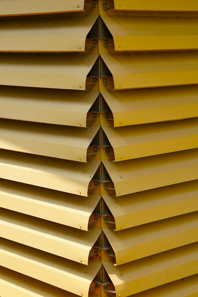 Blind Industrial Shade Wall Architecture Close-up Full Frame Heat Protection Insulation No People Pattern Sun Protection Surface Yellow Yellow Color