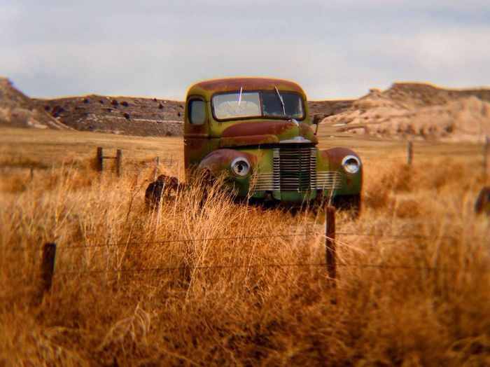 Remains Of Old Truck In Field