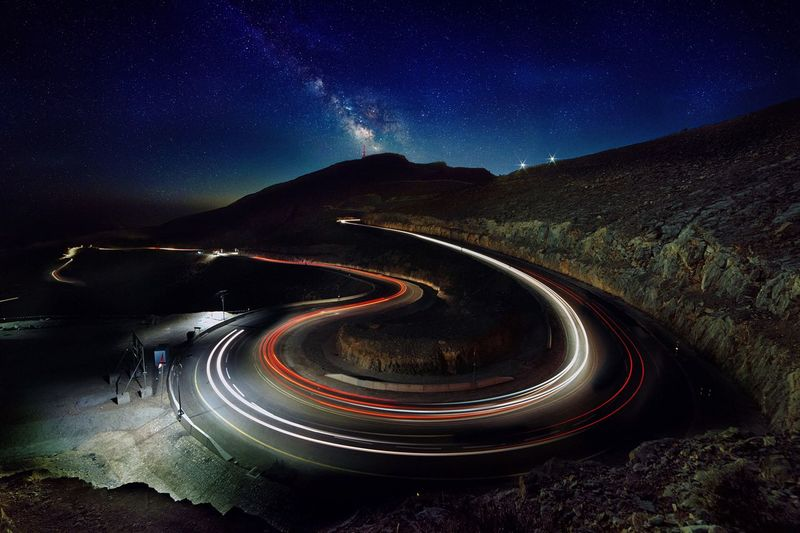 Game of lights Milky Way Long Exposure Star Galaxy Motion Transportation Star Field Nature Scenics - Nature Space And Astronomy Light Trail No People Motor Vehicle Curve First Eyeem Photo EyeEmNewHere