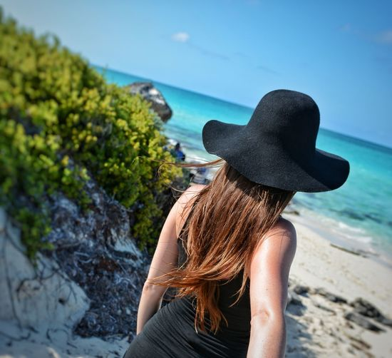 All Inclusive Cuba Cuban Carribean South Sea Blue One Person Leisure Activity Adult Rear View Beauty Hat One Woman Only Lifestyles Vacations Women People Sky Tree Dress Nature Outdoors Only Women