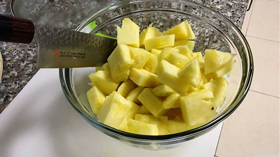 Piña Pineapple Cut Cubes Healthy Food Japan Knife