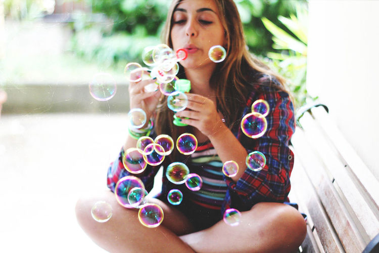 Bubble Casual Clothing Childhood Color Colors Cute Fun Girl Girls Hipster Innocence Lifestyles Me Person Portrait Soap Bubbles Spring Summer
