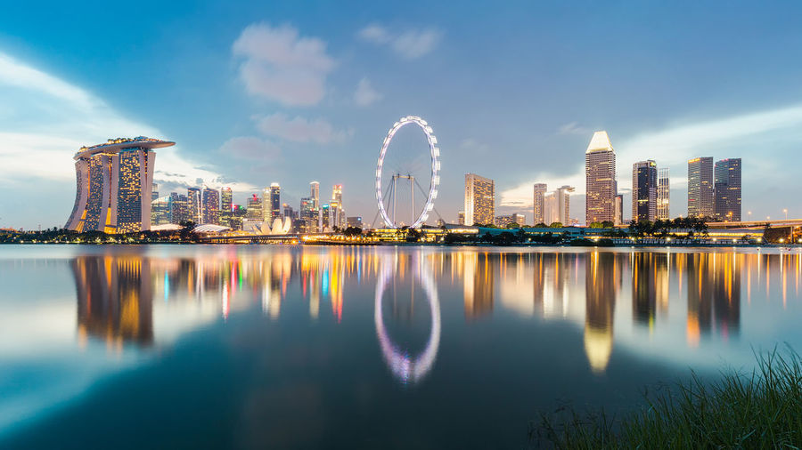 2016 Architecture Blue Building Built Structure City Lights Cityscape Cityscapes Construction EyeEm Marina Bay Sands Marina Bay Sands Hotel Modern Panorama Panoramic Photography Reflection River Season  Singapore Singapore City Singapore Flyer Skyscraper Travel Urban Skyline Waterfront