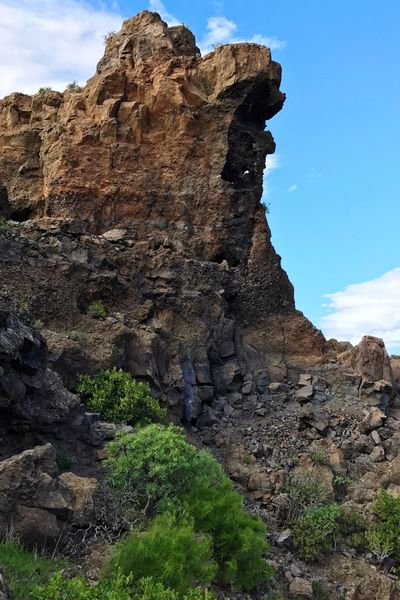 Gran Canaria Tejeda Nature Sky Rock Formation Rock - Object Beauty In Nature Geology Travel Destinations Outdoors Day No People Tranquility Cloud - Sky Tree Grass