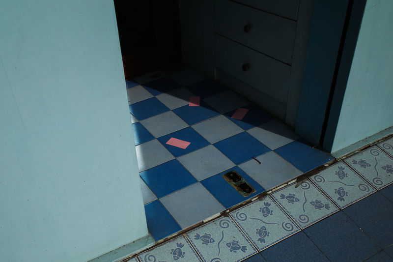 High angle view of tiled floor at home