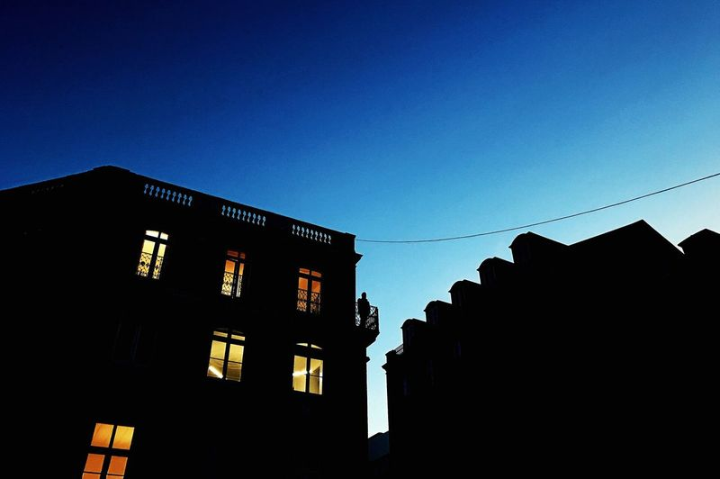 Low Angle View Silhouette Architecture No People Building Exterior Blue Dusk In The City Clear Sky Outdoors Day Sky