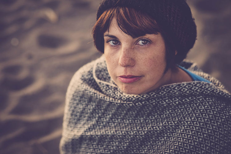 portrait of a lady with freckles Adult Beautiful People Beautiful Woman Beauty Casual Clothing Close-up Day Focus On Foreground Freckles Headshot Looking At Camera Nature One Person One Woman Only Only Women Outdoors People Portrait Real People Relaxation Warm Clothing Women Young Adult Young Women