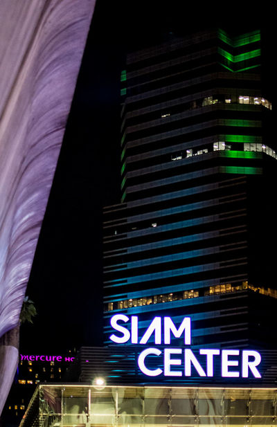 Light signage on shopping mall Architecture Architecture Bangkok Builiding Built Structure City Communication Design Detail Information Landmark Light In The Darkness Modern Shopping Mall Shopping ♡ Siam Center Sign Symbol Text Thailand Tower