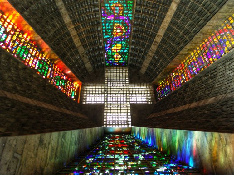 Multi Colored Illuminated Architecture Built Structure Ceiling Indoors  Place Of Worship Religion Symmetry Rio De Janeiro Cathedral Rio De Janeiro Eyeem Fotos Collection⛵ Rio De Janeiro, Brasil EyeEmNewHere Travellover Travel Photography Be. Ready.