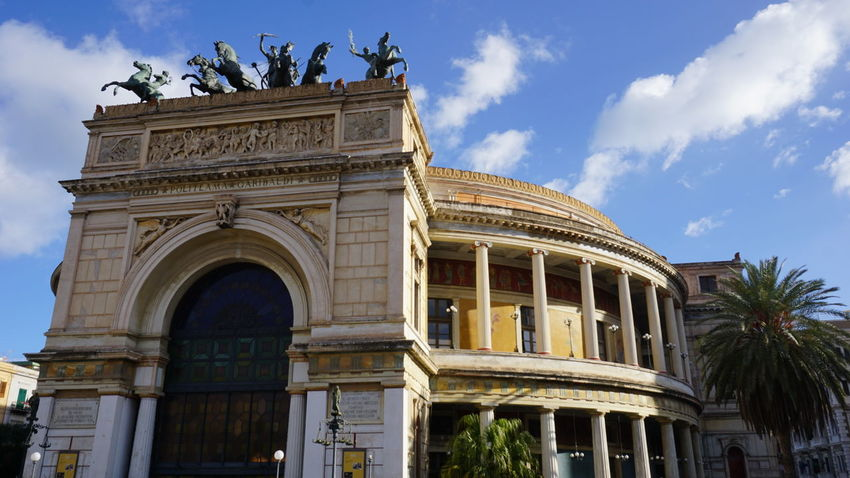 Politeama Theater. Piazza Politeama, Palermo, Sicily, Italy. Architecture Old Buildings Architectural Detail Politeama Theatre Palermo Sicilia Italia Politeama Photography Vacation Vacations Architecture_collection Streetphotography Street Travel Travel Destinations Sonyalpha Sony A6000 Sony Photographer Photo Italy Sicily Palermo Theater Horse Sculpture Horses Horse