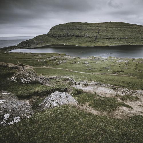 Sorvagsvatn Sørvágsvatn Beauty In Nature Cloud - Sky Faroe Faroe Islands Faroeisland Färöer Lake Land Landscape Mountain Nature Non-urban Scene Outdoors Scenics - Nature Sea Sky Tranquil Scene Tranquility Water