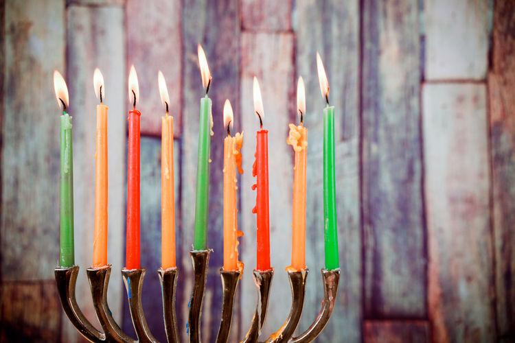Jewish holiday, Holiday symbol Hanukkah Brightly Glowing Hanukkah Menorah - Shallow Depth of Field Candle Hannukah Jewish Jewish Holiday Menorahcandles Tradition Burning Candle Hannukkah Hanukkah, Heat - Temperature Holiday - Event Judaica Judaism Kislev Kosher Menora Menorah Multi Colored
