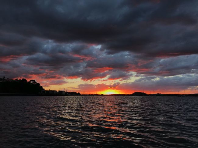 Sunset in Auckland, New Zealand Sundown NZ Sunset Cloud - Sky Sky Orange Color Beauty In Nature Scenics Nature No People Tranquil Scene Sea Tranquility Dramatic Sky Water Outdoors Storm Cloud