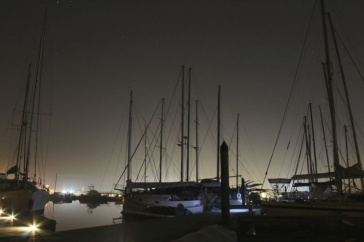 Night Nautical Vessel Tranquility Harbor Sky Outdoors Moored Sailboat Sea Star Clear Sky Yacht Nature Scenics Water No People