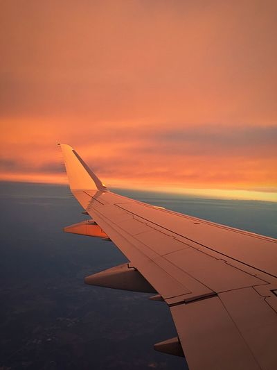 Transportation Flying Airplane Travel Cloud Sunset Sky Outdoors Aerial View