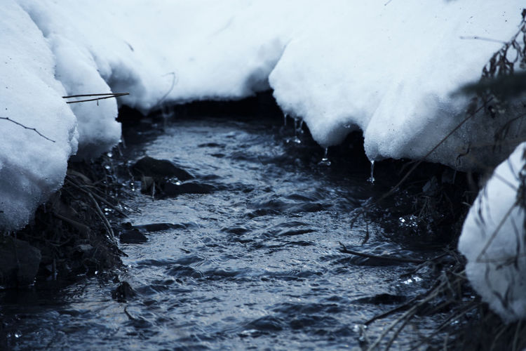 Frozen river flowing through rocks
