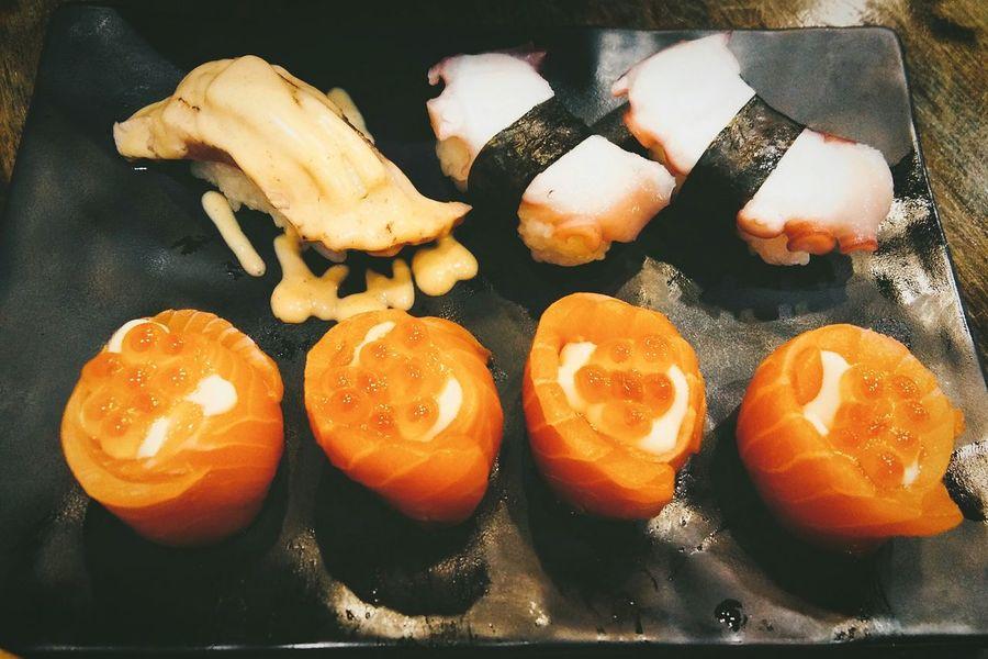 Japanese food Food Healthy Eating Freshness Sashimi Set Sashimi Sushi Salmon Rolls Tweety Sushi Squid