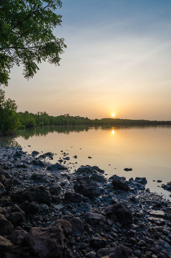 River Sunset Scenery Landscape African Gambia  Gambia, Africa Africa